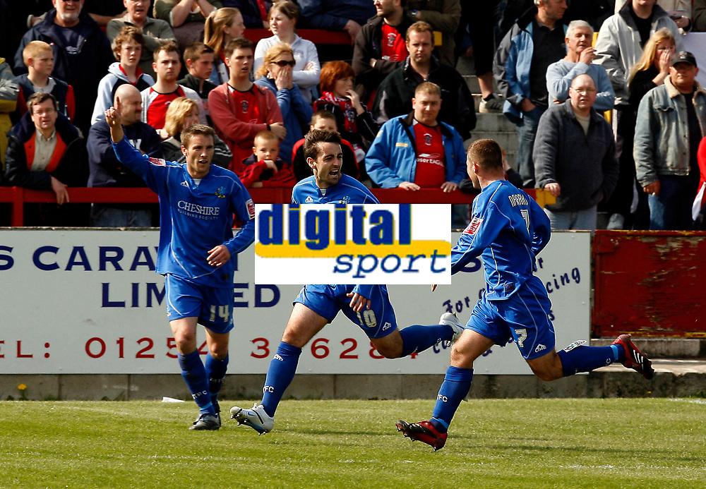 Photo: Paul Greenwood.<br />Accrington Stanley v Macclesfield Town. Coca Cola League 2. 28/04/2007.<br />Macclesfields John Miles (L) celebrates making the game 2-1