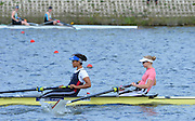 Reading. United Kingdom.  GBR W2-. Monica RELPH and Donna ETIEBET, in the opening strokes of the morning time trial. 2014 Senior GB Rowing Trails, Redgrave and Pinsent Rowing Lake. Caversham.<br /> <br /> 10:45:00  Saturday  19/04/2014<br /> <br />  [Mandatory Credit: Peter Spurrier/Intersport<br /> Images]