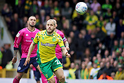 Norwich City forward Teemu Pukki (22) with his eye on the ball during the EFL Sky Bet Championship match between Norwich City and Queens Park Rangers at Carrow Road, Norwich, England on 6 April 2019.