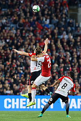 July 15, 2017 - Sydney, New South Wales, Australia - Wanders player, Jacob Melling and Arsenal player, Granit Xhaka collide in the air in attempt to reach for the ball first.FA Cup Champions Arsenal wins 3-1 over Western Sydney Wanderers FC at ANZ Stadium. (Credit Image: © United Images/Pacific Press via ZUMA Wire)
