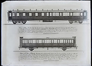 architect drawings of 3th class PLM railroad cars 1898 France Paris