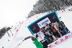 Second placed Zan Kosir of Slovenia, Winner Roland Fischnaller of Italy, third placed Sylvain Dufour of France and fourth placed Ingemar Walder of Austria celebrate at flower ceremony after   the FIS Snowboard World Cup Rogla 2013 in Parallel Giant slalom, on February 8, 2013 in Rogla, Slovenia. (Photo By Vid Ponikvar / Sportida.com)
