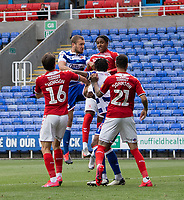 Reading's George Puscas (centre left) battles with Middlesbrough defence<br /> <br /> Photographer David Horton/CameraSport<br /> <br /> The EFL Sky Bet Championship - Reading v Middlesbrough - Tuesday July 14th 2020 - Madejski Stadium - Reading<br /> <br /> World Copyright © 2020 CameraSport. All rights reserved. 43 Linden Ave. Countesthorpe. Leicester. England. LE8 5PG - Tel: +44 (0) 116 277 4147 - admin@camerasport.com - www.camerasport.com