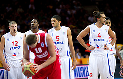Nando de Colo of France, Florent Pietrus of France, Nicolas Batum of France, Joakim Noah of France and Mickael Gelabale of France during basketball game between National basketball teams of France and Russia in 2nd Semifinal of FIBA Europe Eurobasket Lithuania 2011, on September 16, 2011, in Arena Zalgirio, Kaunas, Lithuania.  (Photo by Vid Ponikvar / Sportida)