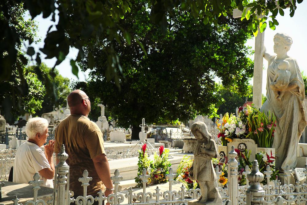 The grave of Amelia Goyri de la Hoz, a place of worship at the Colon cemetery in Havana