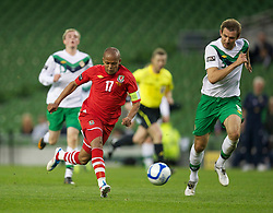 DUBLIN, REPUBLIC OF IRELAND - Friday, May 27, 2011: Wales' Robert Earnshaw in action against Northern Ireland during the Carling Nations Cup match at the Aviva Stadium (Lansdowne Road). (Photo by David Rawcliffe/Propaganda)