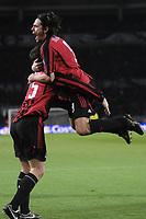 Fotball<br /> Italia<br /> Foto: Inside/Digitalsport<br /> NORWAY ONLY<br /> <br /> 12.04.2008<br /> <br /> Filippo Inzaghi celebrates scoring second goal with Daniele Bonera<br /> <br /> Juventus v Milan (3-2)
