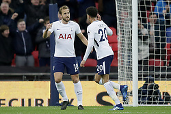 BRITAIN-LONDON-FOOTBALL-PREMIER LEAGUE-TOTTENHAM HOTSPUR VS WATFORD.(180430) -- LONDON, April 30, 2018  Tottenham Hotspur's Dele Alli (R) celebrates after scoring a goal, with Tottenham Hotspur's Harry Kane during the Premier League football match between Tottenham Hotspur and Watford at Wembley Stadium in London, Britain on April 30, 2018.  Tottenham Hotspur won 2-0.  FOR EDITORIAL USE ONLY. NOT FOR SALE FOR MARKETING OR ADVERTISING CAMPAIGNS. NO USE WITH UNAUTHORIZED AUDIO, VIDEO, DATA, FIXTURE LISTS, CLUB/LEAGUE LOGOS OR ''LIVE'' SERVICES. ONLINE IN-MATCH USE LIMITED TO 45 IMAGES, NO VIDEO EMULATION. NO USE IN BETTING, GAMES OR SINGLE CLUB/LEAGUE/PLAYER PUBLICATIONS. (Credit Image: © Tim Ireland/Xinhua via ZUMA Wire)