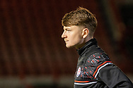 Crawley Town forward James Tilley (#38) in the warm up  ahead of the EFL Sky Bet League 2 match between Crawley Town and Walsall at The People's Pension Stadium, Crawley, England on 16 March 2021.