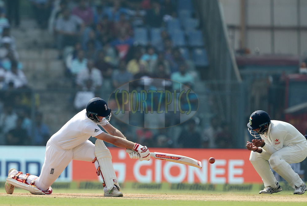 Joe Root of England during day 4 of the fourth test match between India and England held at the Wankhede Stadium, Mumbai on the 11th December 2016.<br /> <br /> Photo by: Ron Gaunt/ BCCI/ SPORTZPICS