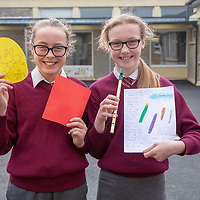 Jenna Murphy with her Jessies idea 'Greeting Cards' and Sarah Blunnie with her Jessies idea 'Recycleable Tin Whistle Cases'