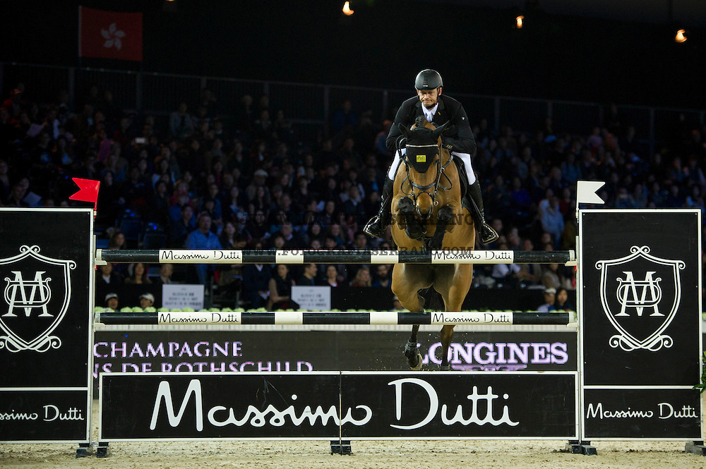 Marco Kutscher on Chaccorina competes during Massimo Dutti Trophy  at the Longines Masters of Hong Kong on 21 February 2016 at the Asia World Expo in Hong Kong, China. Photo by Juan Manuel Serrano / Power Sport Images