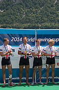 Aiguebelette, FRANCE.   Gold Medallist left  to right,  Alex GREGORY, Mo SBIHI, George NASH and Andy TRIGGS HODGE.  2014 FISA World Cup II, 12:29:09  Sunday  22/06/2014. [Mandatory Credit; Peter Spurrier/Intersport-images]