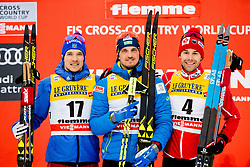 January 6, 2018 - Val Di Fiemme, ITALY - 180106 Andrey larkov of Russia, Alexey Poltoranin of Kazakhstan and Alex Harvey of Canada on the podium after men's 15km mass start classic technique during Tour de Ski on January 6, 2018 in Val di Fiemme..Photo: Jon Olav Nesvold / BILDBYRN / kod JE / 160123 (Credit Image: © Jon Olav Nesvold/Bildbyran via ZUMA Wire)