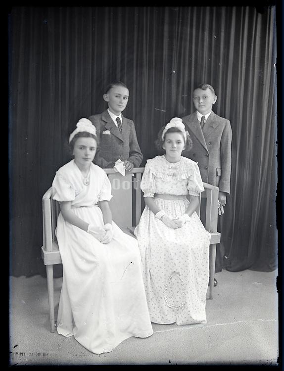 holy communion studio portrait France circa 1930s