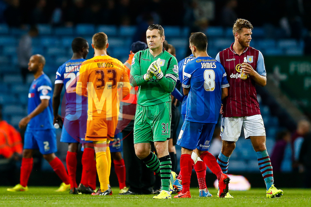 A dejected looking Shay Given of Aston Villa applauds the supporters after his side lose 0-1 - Photo mandatory by-line: Rogan Thomson/JMP - 07966 386802 - 27/08/2014 - SPORT - FOOTBALL - Villa Park, Birmingham - Aston Villa v Leyton Orient - Capital One Cup Round 2.