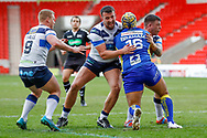 \Doncaster RLFC interchange Zac Braham (16) is stopped  during the Challenge Cup 2018 match between Doncaster and Featherstone Rovers at the Keepmoat Stadium, Doncaster, England on 22 April 2018. Picture by Simon Davies.