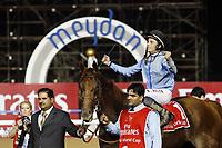 Galopp<br /> Foto: imago/Digitalsport<br /> NORWAY ONLY<br /> <br /> 28.03.2015, Dubai, UAE, VEREINIGTE ARABISCHE EMIRATE - Prince Bishop with Wiliam Buick up wins the Dubai World Cup 2015. Meydan racecourse.