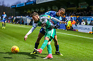Plymouth Argyle midfielder Graham Carey (10) battles with Wycombe Wanderers midfielder Curtis Thompson(18) during the EFL Sky Bet League 1 match between Wycombe Wanderers and Plymouth Argyle at Adams Park, High Wycombe, England on 26 January 2019.