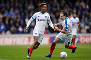 Jamal Lowe of Portsmouth and Brett Pitman of Portsmouth lead the attack during the EFL Sky Bet League 1 match between Wycombe Wanderers and Portsmouth at Adams Park, High Wycombe, England on 6 April 2019.