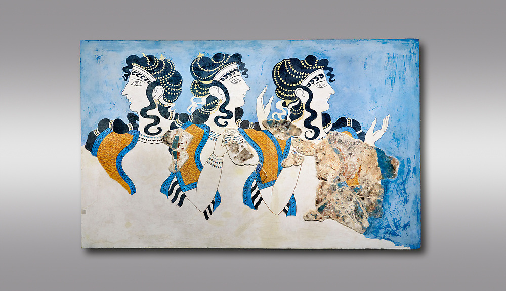 Minoan wall art fresco of 'Ladies in Blue' from Knossos Palace 1600-1450 BC. Heraklion Archaeological Museum.  Grey Background. <br /> <br /> The 'Ladies in Blue' Minoan fresco depicts richy dressed female figures with opulent jewelery and clothing with flamboyant hairstyles refecting the wealth of the Palace of Knossos .<br /> <br /> If you prefer to buy from our ALAMY PHOTO LIBRARY  Collection visit : https://www.alamy.com/portfolio/paul-williams-funkystock/minoan-art-artefacts.html . Type -   Heraklion   - into the LOWER SEARCH WITHIN GALLERY box. Refine search by adding background colour, place, museum etc<br /> <br /> Visit our MINOAN ART PHOTO COLLECTIONS for more photos to download  as wall art prints https://funkystock.photoshelter.com/gallery-collection/Ancient-Minoans-Art-Artefacts-Antiquities-Historic-Places-Pictures-Images-of/C0000ricT2SU_M9w