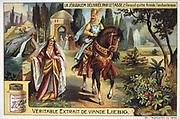 'Jerusalem Delivered' (1580) epic poem by Torquato Tasso, Italian poet. Fictionalised story of First Crusade 1095-1099.  Christian knight Rinaldo, leaving the enchantress Armide. Liebig Trade Card c1900. Chromolithograph.