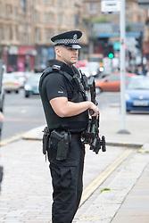 Armed police outside on Friday at TRNSMT music festival, Glasgow Green.