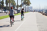 Pedestrian Bike Path At Rainbow Harbor In Long Beach