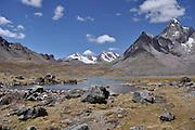 landscape of the Cordillera Vilcanota mountain range in the Andes of Peru.