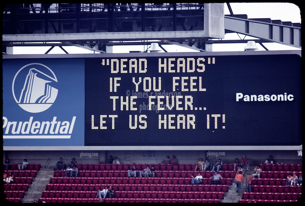 Diamond Vision Screen at Giants Stadium Grateful Dead Concert, 02 September 1978. General coverage of the stage, fans, venue.
