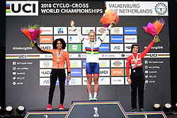 February 3, 2018 - Valkenburg, Pays bas - Del Carmen Alvarado Ceylin (NED) , Richards Evie (GBR) and Heigl Nadja (AUT) pictured during the podium ceremony after the 2018 UCI Cyclo-Cross World Championships for Women under 23 on February 03, 2018 (Credit Image: © Panoramic via ZUMA Press)