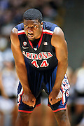 SHOT 2/14/13 8:49:02 PM - Arizona's Solomon Hill #44 during a break in the action action Colorado during their regular season Pac-12 basketball game at the Coors Event Center on the Colorado campus in Boulder, Co. Colorado won the game 71-58. (Photo by Marc Piscotty / © 2013)