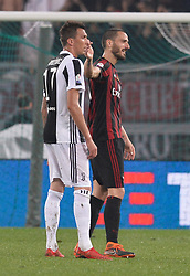 May 9, 2018 - Rome, Italy - Mario Mandzukic and Leonardo Bonucci during the Tim Cup Final football match F.C. Juventus vs A.C. Milan at the Olympic Stadium in Rome, on May 09, 2018  (Credit Image: © Silvia Lore/NurPhoto via ZUMA Press)