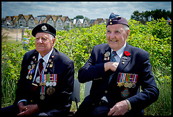 Image ©Licensed to i-Images Picture Agency. D-Day Veteran's Stanley Clark Fields 95 and Lloyd Bentley 93, on Juno Beach, Normandy, France, on the eve of the 70th anniversary of D-Day, Thursday, 5th June 2014 Picture by Andrew Parsons  / i-Images