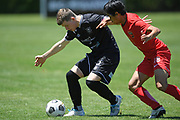 Hawke's Bay United's Jackson Woods gets over the ball in the Handa Premiership football match, Hawke's Bay United v Canterbury United, Bluewater Stadium, Napier, Sunday, December 06, 2020. Copyright photo: Kerry Marshall / www.photosport.nz