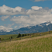Fair weather cumulus clouds drift over pastures in Montana's Gallatin Valley, near Bozeman.  Mount Baldy and the Bridger Mountains rise in the background.