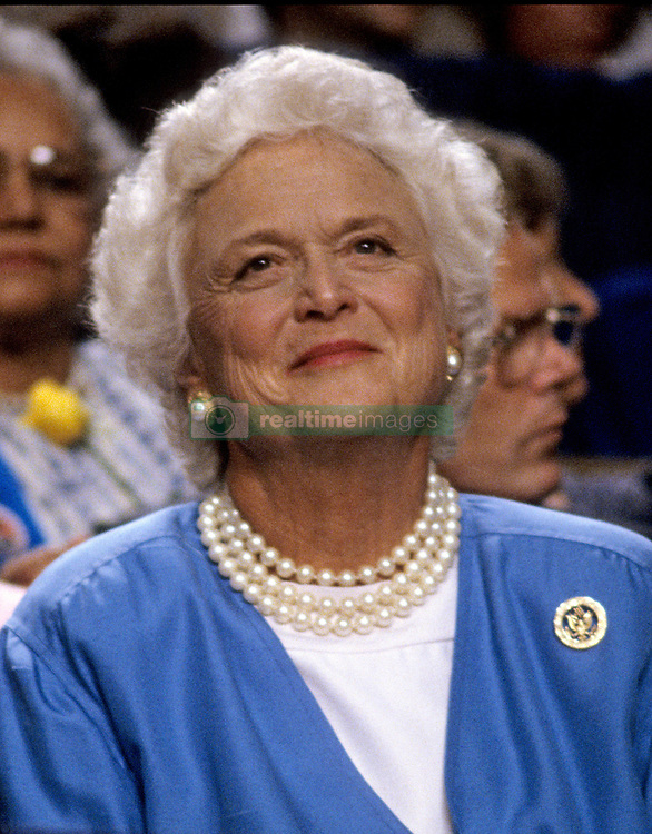 April 17, 2018 - (File Photo) - Former first lady Barbara Bush, wife of former President George H.W. Bush and mother of former President George W. Bush, died Tuesday at her home in Houston. She was 92. Barbara Bush had been in failing health, suffering from congestive heart failure and chronic obstructive pulmonary disease. George and Barbara, who celebrated their 73rd wedding anniversary on Jan. 6, hold the record for the longest-married presidential pair. Mrs. Bush was known for her wit and emphasis on family. One of her primary causes was literacy and she founded the  Barbara Bush Foundation for Family Literacy in 1989. PICTURED: Aug. 16, 1988 - New Orleans, Louisiana, U.S. - BARBARA BUSH, wife of United States Vice President George H.W. Bush, watches the proceedings of the 1988 Republican National Convention at the Super Dome. (Credit Image: © Howard L. Sachs/CNP/ZUMAPRESS.com)