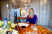 DEN HAAG, 08-10-2020, Paleis Huis ten Bosch<br /> <br /> Koningin Maxima tijdens de virtuele opening van de nieuwe vestiging van het Nederlandse technologiebedrijf Prodrive Technologies in Canton, Massachusetts, Verenigde Staten. De hoofdvestiging van het bedrijf bevindt zich in het Science Park Eindhoven in Son.<br /> <br /> Queen Maxima during the virtual opening of the new branch of the Dutch technology company Prodrive Technologies in Canton, Massachusetts, United States. The company's headquarters are located in the Science Park Eindhoven in Son.