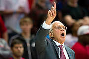 DALLAS, TX - FEBRUARY 01: SMU Mustangs head coach Larry Brown has words with his team against the Memphis Tigers on February 1, 2014 at Moody Coliseum in Dallas, Texas.  (Photo by Cooper Neill/Getty Images) *** Local Caption *** Larry Brown