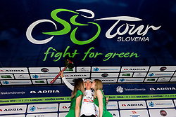 Overall best young rider Tadej Pogacar (SLO) of UAE Team Emirates celebrates during trophy ceremony after the 5th Stage of 26th Tour of Slovenia 2019 cycling race between Trebnje and Novo mesto (167,5 km), on June 23, 2019 in Slovenia. Photo by Vid Ponikvar / Sportida