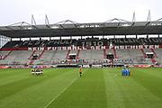 Fussball: 2. Bundesliga, FC St. Pauli - Holstein Kiel, Hamburg, 09.01.2021<br /> Die Mannschaften vor dem Spiel<br /> © Torsten Helmke