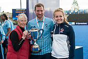 Reading Captain Dan Shingles receives the cup. Canterbury v Reading - Men's Cup Final, Lee Valley Hockey & Tennis Centre, London, UK on 29 April 2017. Photo: Simon Parker