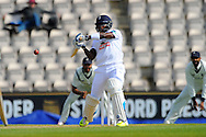 Hampshire batsman Fidel Edwards getting in position to hook the ball, a shot which led to his dismissal by being caught in the field by Keith Barker off the bowling of Warwickshires Rikki Clarke during the Specsavers County Champ Div 1 match between Hampshire County Cricket Club and Warwickshire County Cricket Club at the Ageas Bowl, Southampton, United Kingdom on 12 April 2016. Photo by Graham Hunt.