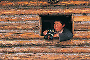Darkhad in log cabin<br /> Darkhad Depression<br /> Northern Mongolia