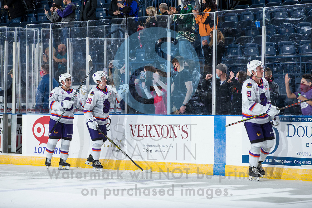 Youngstown Phantoms defeat the Muskegon Lumberjacks 4-3 in overtime at the Covelli Centre on December 5, 2020.<br /> <br /> Jack Silich, forward, 8; Dylan Gratton, defenseman, 28; Bradley Marek, forward, 9