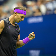 2019 US Open Tennis Tournament- Day Ten.  Rafael Nadal of Spain reacts during his match against Diego Schwartzman of Argentina in the Men's Singles Quarter-Finals match on Arthur Ashe Stadium during the 2019 US Open Tennis Tournament at the USTA Billie Jean King National Tennis Center on September 4th, 2019 in Flushing, Queens, New York City.  (Photo by Tim Clayton/Corbis via Getty Images)