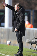 Norwich City Head Coach Daniel Farke  holds up 5 fingers during the EFL Sky Bet Championship match between Wycombe Wanderers and Norwich City at Adams Park, High Wycombe, England on 28 February 2021.
