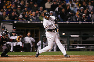 CHICAGO - OCTOBER 23:  Jermaine Dye of the Chicago White Sox bats during Game 2 of the 2005 World Series against the Houston Astros at US Cellular Field on October 23, 2005 in Chicago, Illinois.  The White Sox defeated the Astros 7-6.