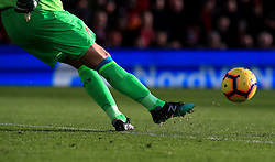 A goalkeeper takes a goal kick during the Premier League match at Anfield, Liverpool.