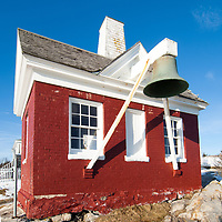 The bellhouse  for the lighthouse, built in 1835, on the west side of entrance to Muscongus Bay, was the first in Maine to be automated in 1934.